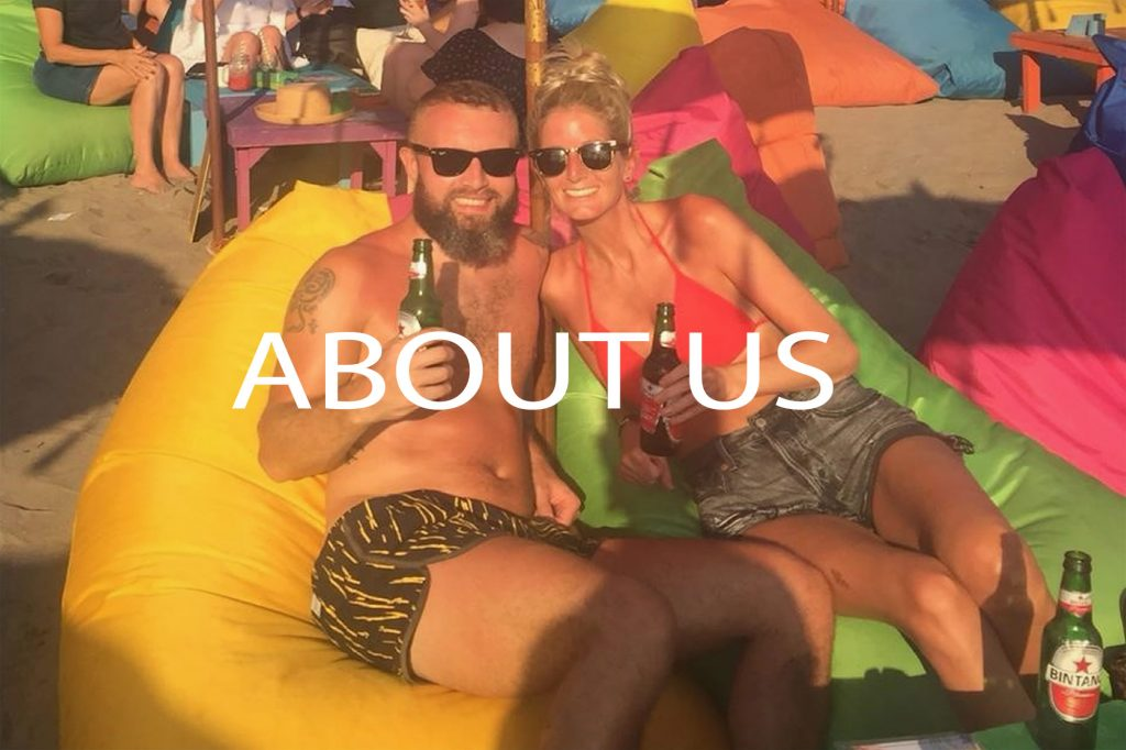 Picture of Gaz and Laura chilling out on colourful bean bags on a beach in Seminyak. Click to find about more.