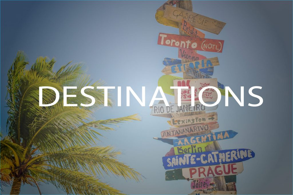 Image of sign showing destinations around the worlds - click to explore destinations from around the world